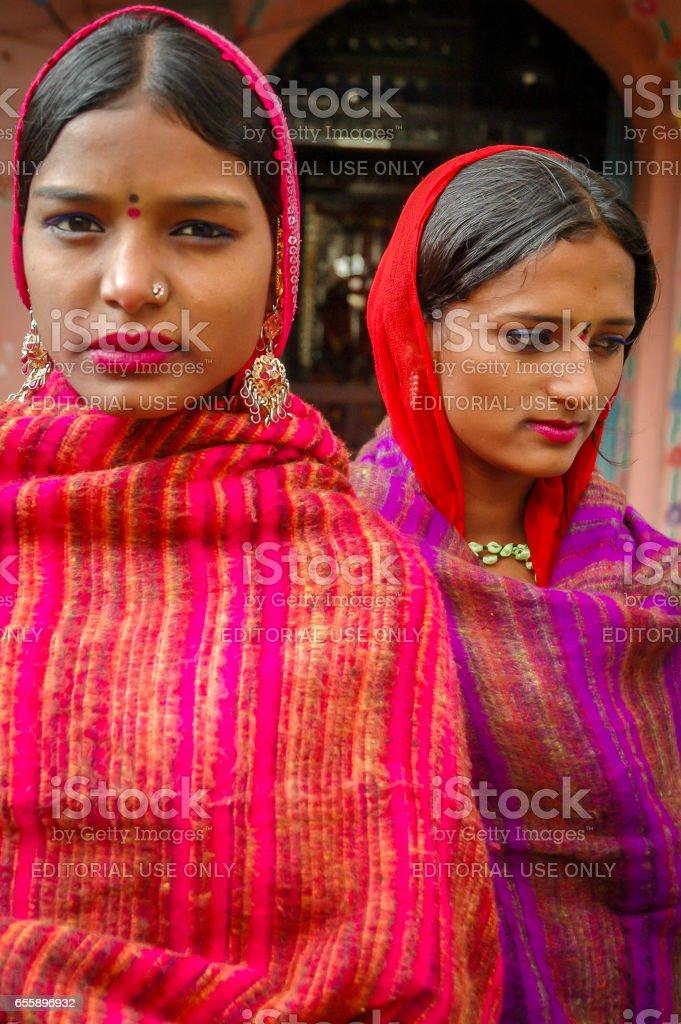 Hindu girls in traditional dress stock photo