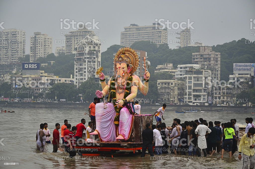 Hindu God Festival at Mumbai beach stock photo