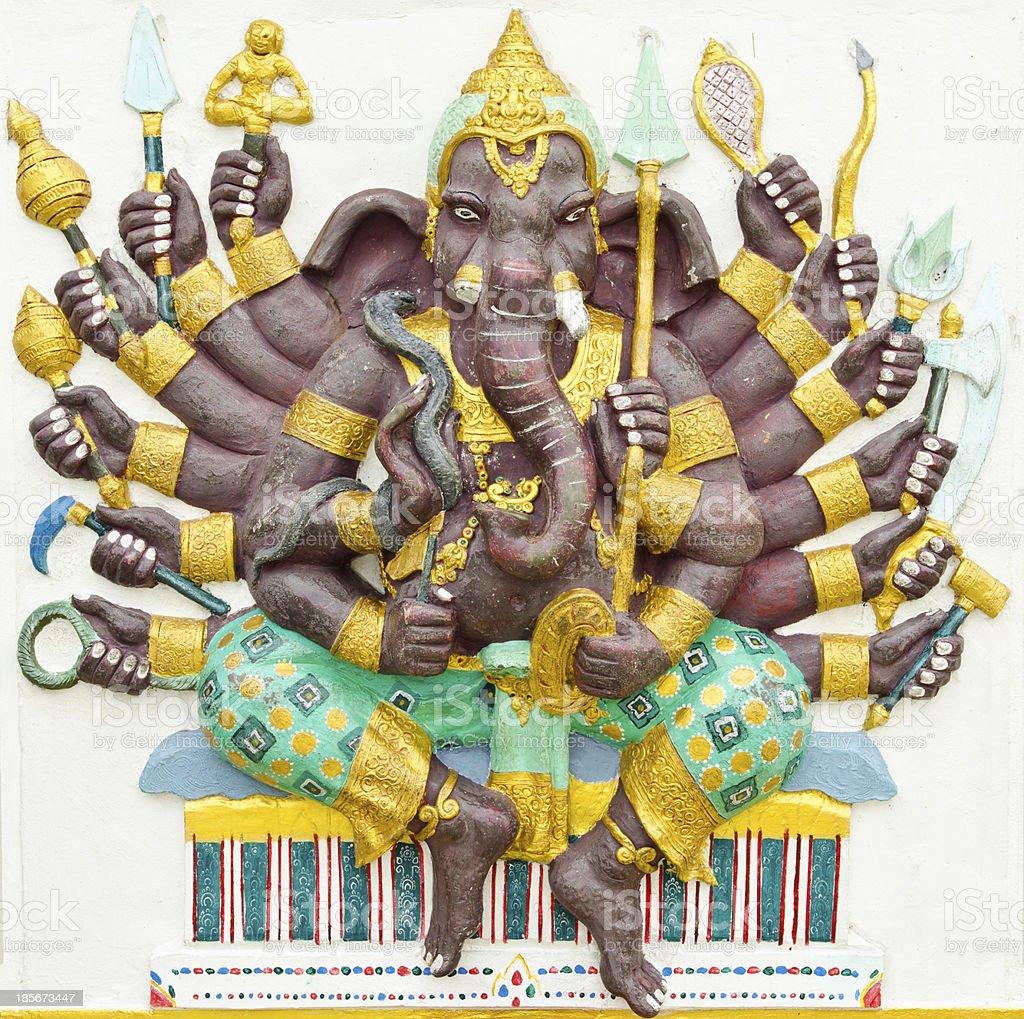 Hindu God Ganesha avatar image in stucco color paint royalty-free stock photo