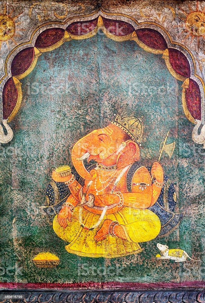 Hindu God Ganesha's Figure on an old Indian Door stock photo