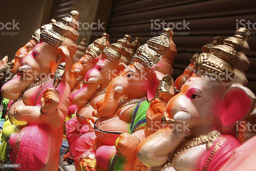 Hindu God idols on sale during Ganesha festival royalty-free stock photo