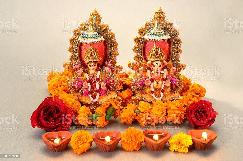 Hindu God Laxmi Ganesh at Diwali Festival stock photo
