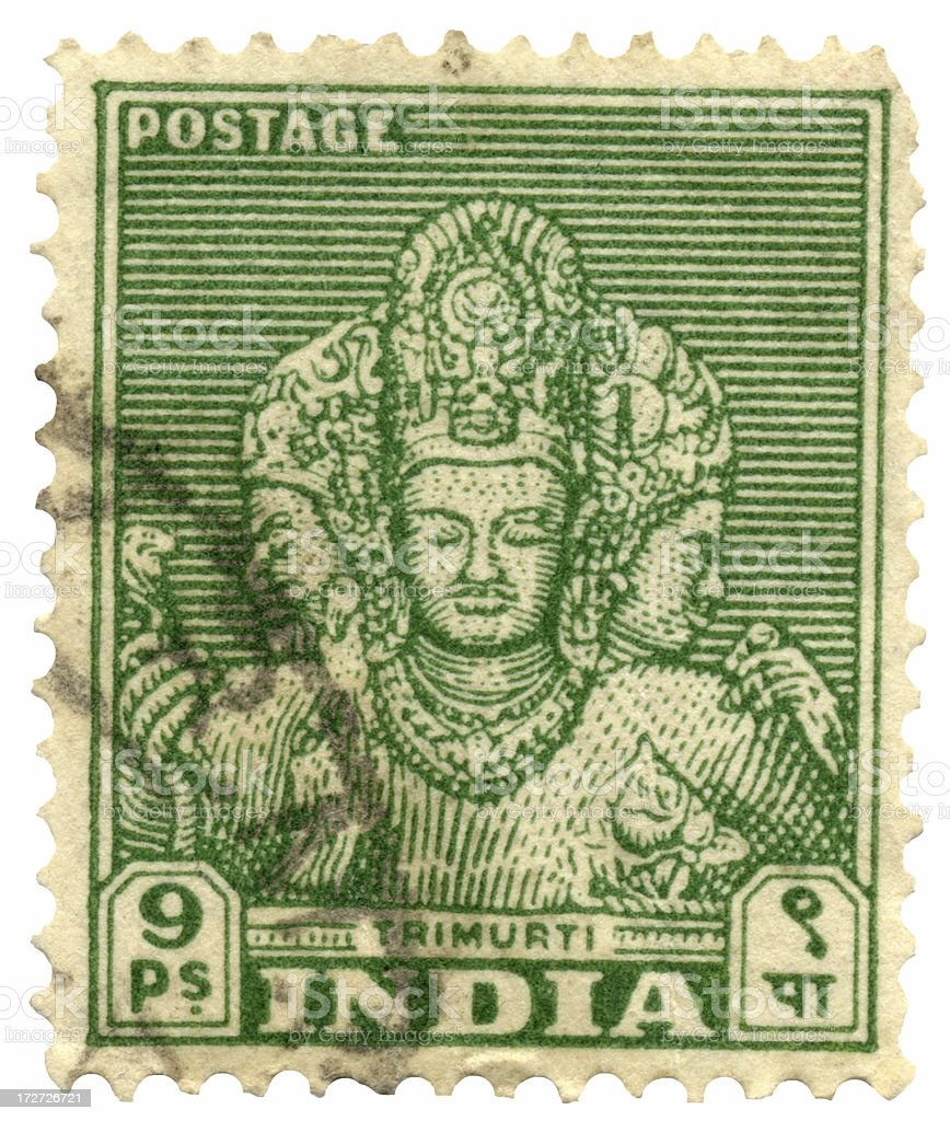 Hindu God on India Postage Stamp (Trimurti) stock photo