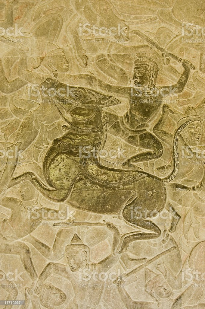 Hindu God riding Horse in battle stock photo
