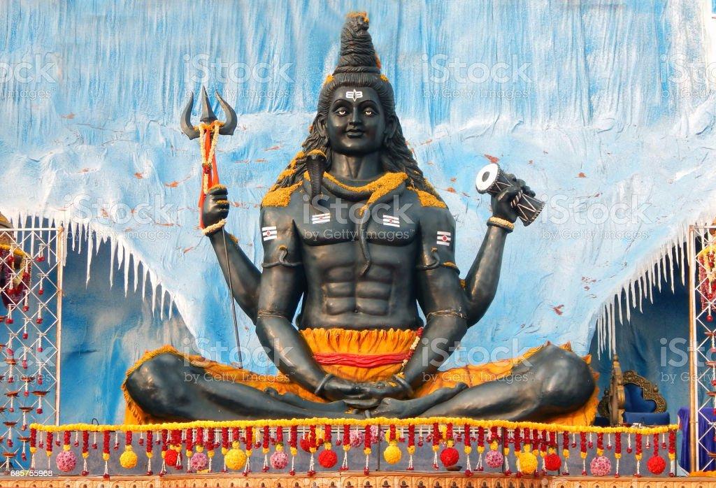Hindu God Shiva in kailash  idol during karthika deepam ustav lighting 1 crore lights, Hyderabad,India stock photo
