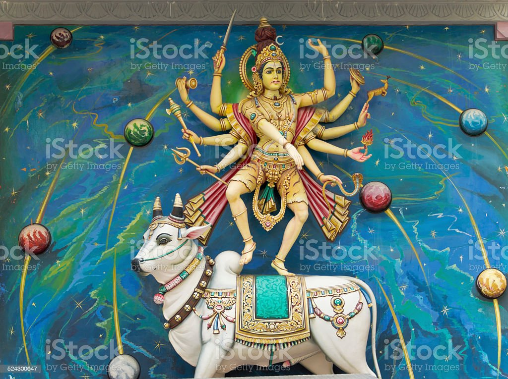 Hindu God Statue with Cow stock photo