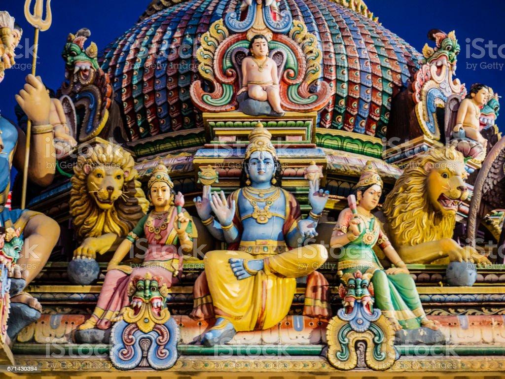 Hindu Gods decoration in Sri Mariamman Temple Singapore stock photo