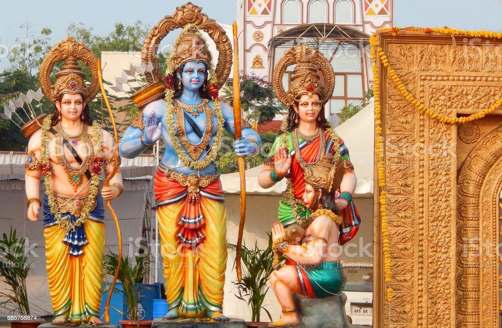 Hindu Gods Rama,lakshmana,Sita and hanuman idols during karthika deepam ustav lighting 1 crore lights, Hyderabad,India stock photo