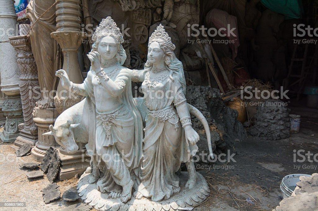 Hindu idol from clay in Kumartuli royalty-free stock photo