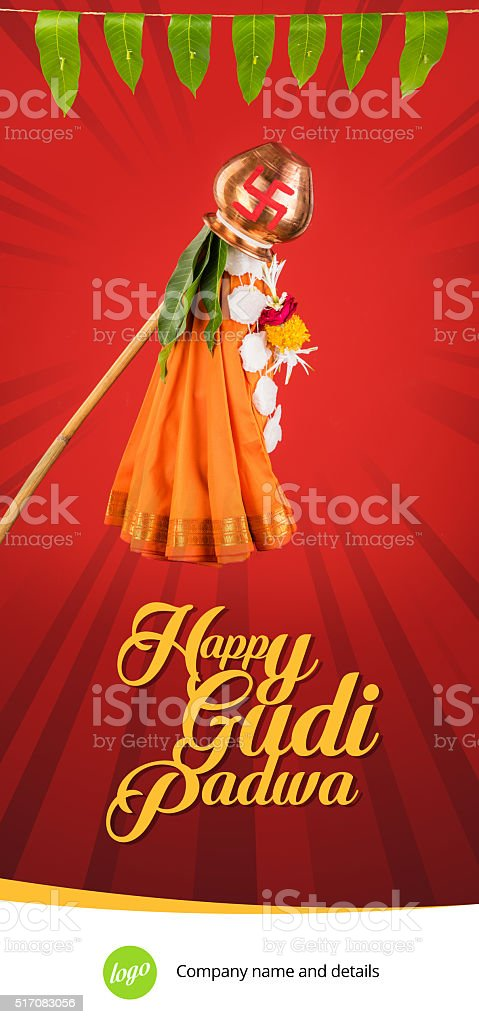 Hindu new year called gudi padwa, greeting template stock photo