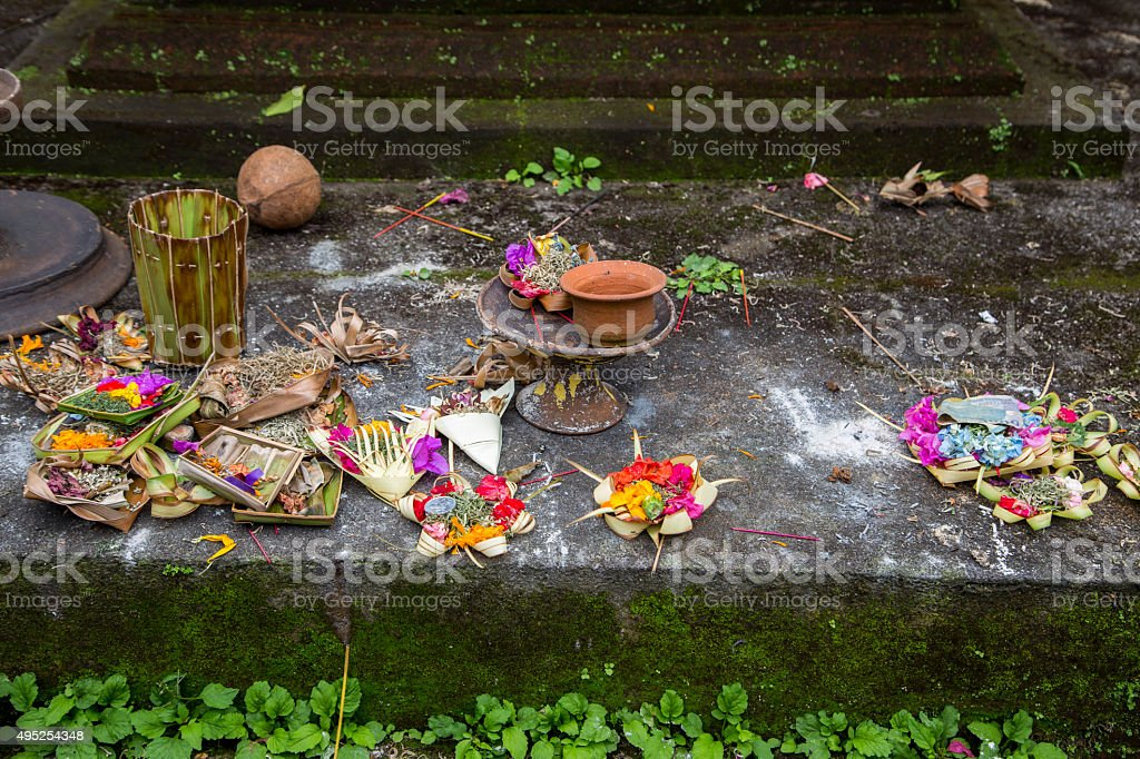 Hindu offerings and gifts to god, temple in Bali, Indonesia stock photo