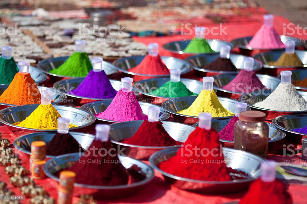 Hindu paints for festival celebration at the market stock photo