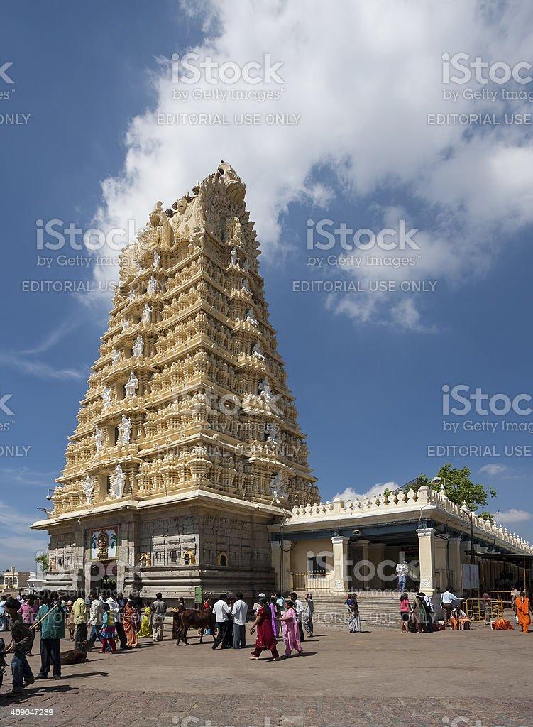 Hindu pilgrims gathering before beautiful temple in south India stock photo