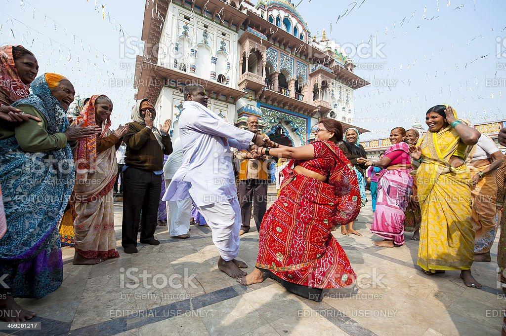 Hindu pilgrims inside Janaki Mandir, Janakpur, Nepal stock photo
