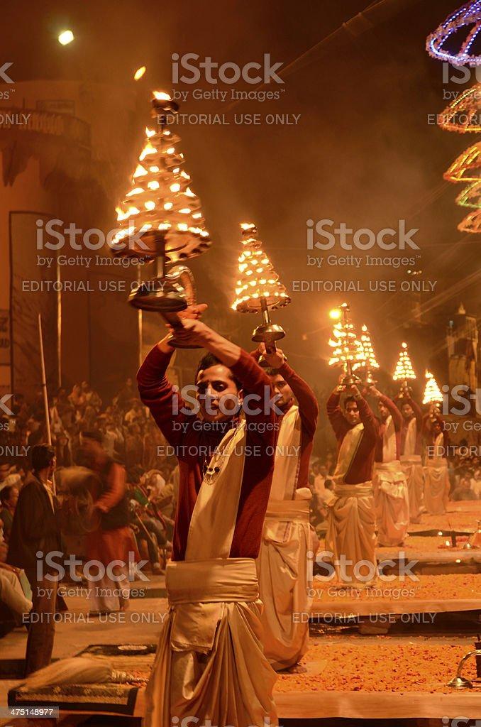 Hindu priest performing religious Ganga Aarti stock photo