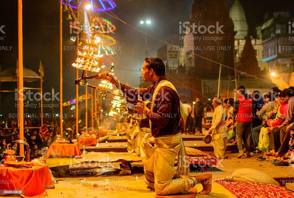 Hindu priest performs the Ganga Aarti ritual stock photo
