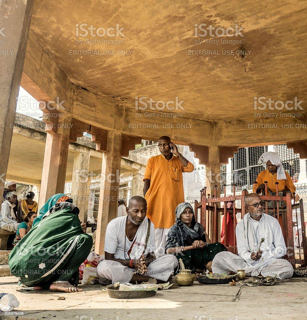 Hindu Puja blessing in Varanasi India stock photo