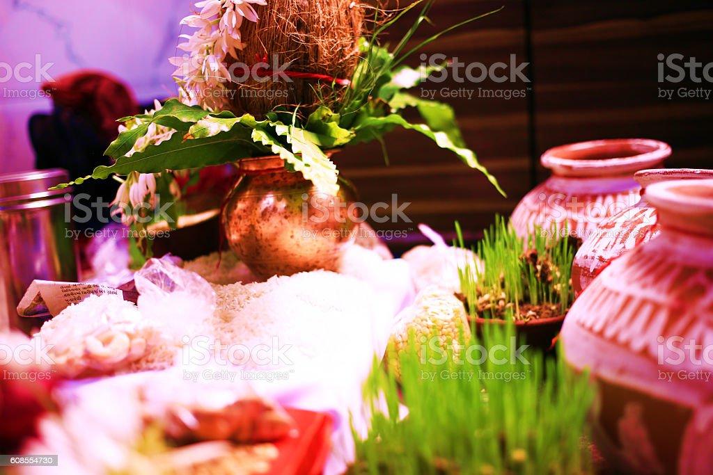 Hindu puja, front view, closeup, stock photo