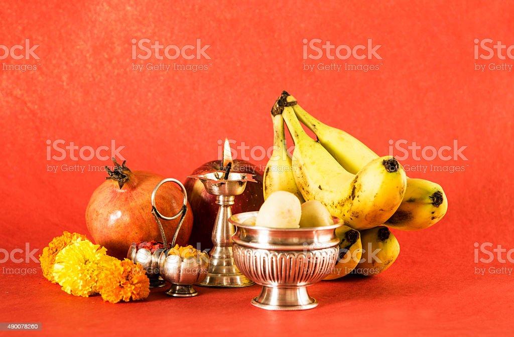 hindu puja or hindu pooja elements or items stock photo