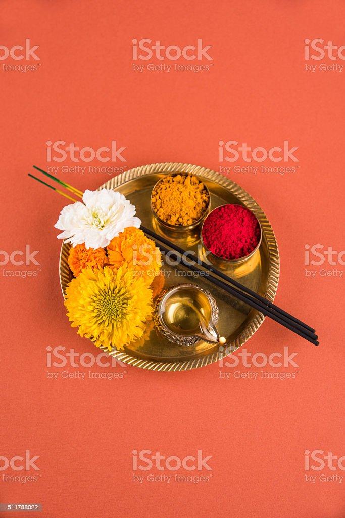 hindu puja thali, indian culture stock photo