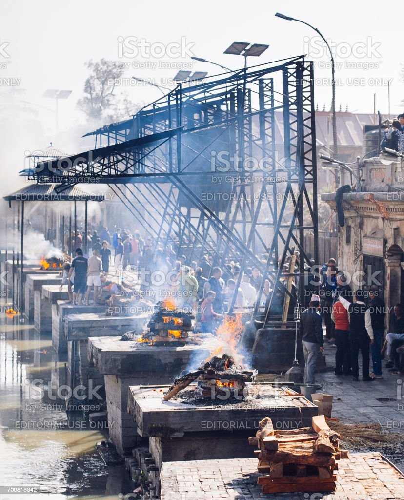 Hindu ritual of cremation in the Pashupatinath temple. stock photo