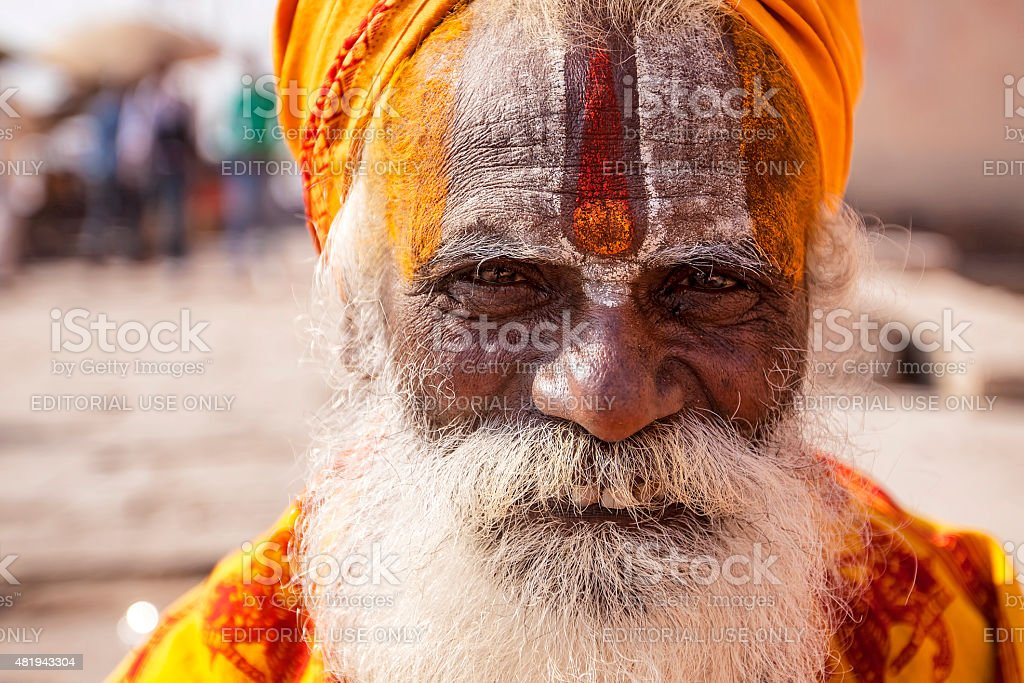 Hindu Sadhu or a Holy man in Varanasi stock photo