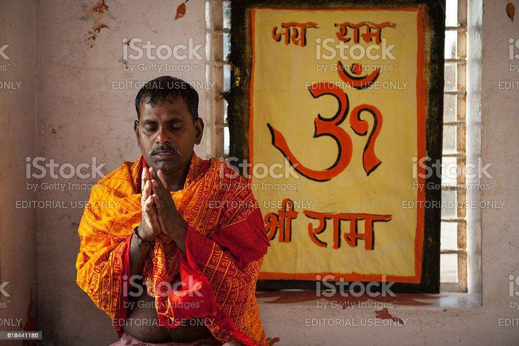 Hindu sadhu praying stock photo