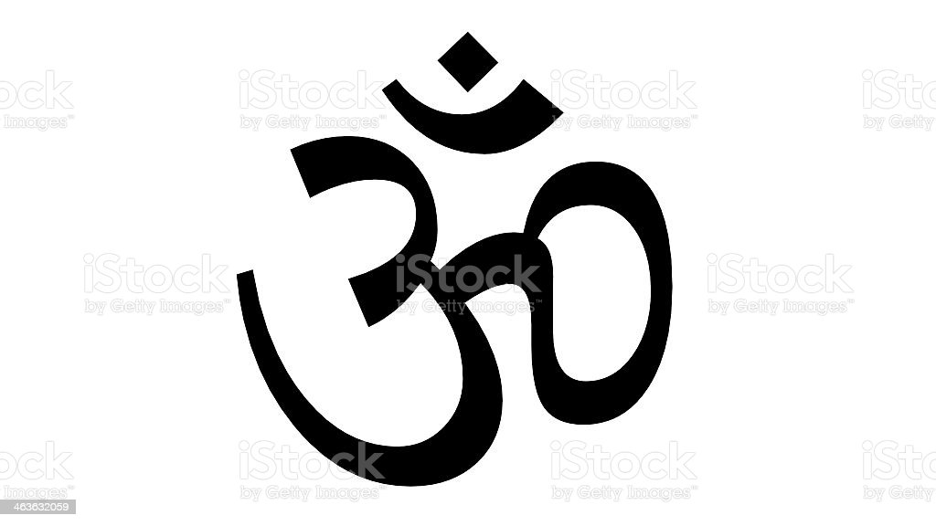 A Hindu symbol against a white background stock photo