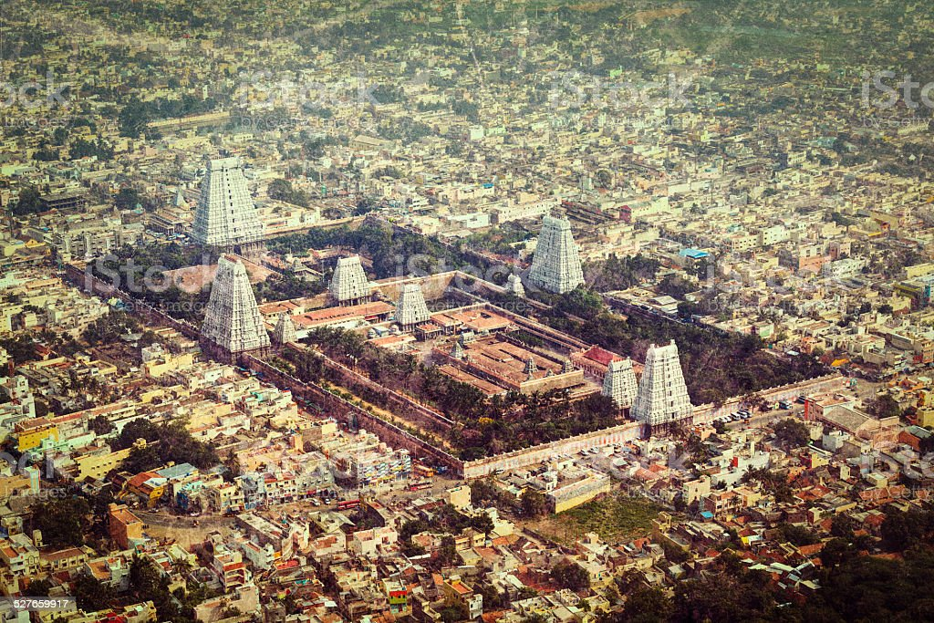 Hindu temple and indian city aerial view stock photo
