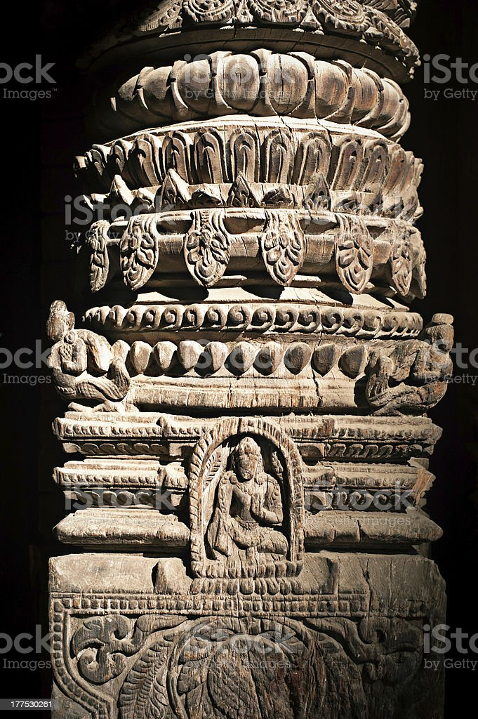 Hindu temple architecture column with Vishnu avatar figure royalty-free stock photo