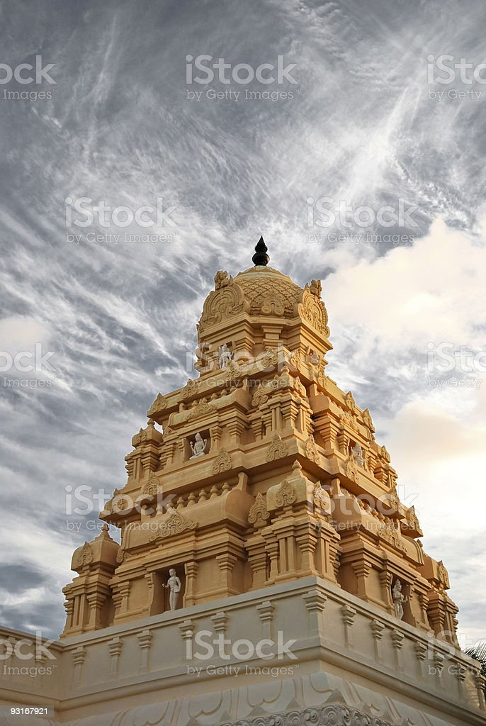 Hindu temple at sunrise stock photo