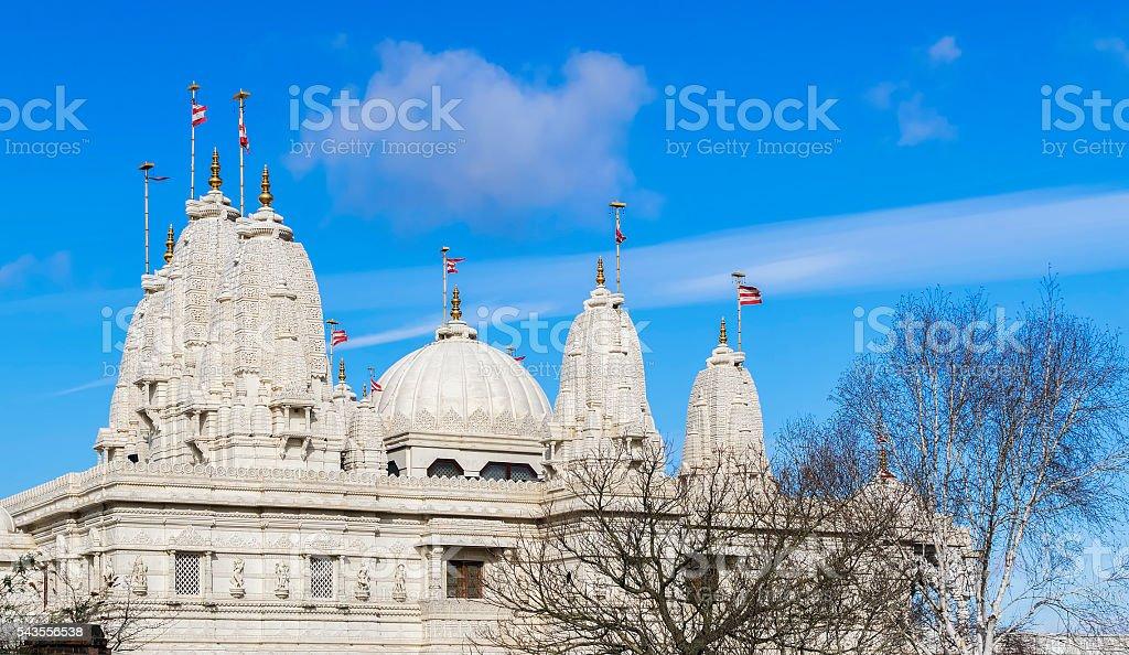 Hindu temple BAPS Shri Swaminarayan Mandir in London, United Kingdom stock photo