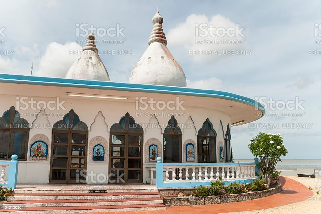 Hindu Temple by the Sea in Trinidad stock photo