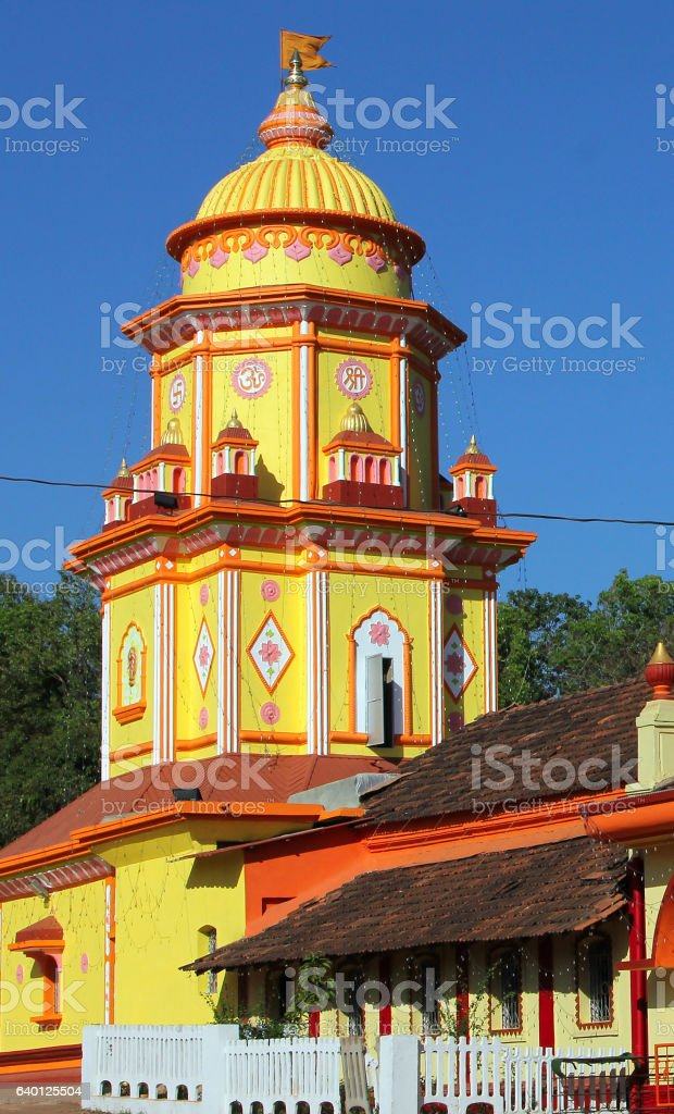Hindu Temple Chauranginath in Arpora, Goa, India stock photo