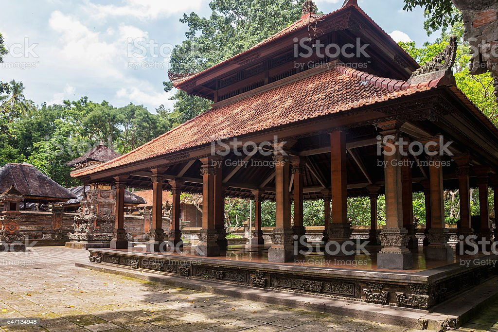 Hindu Temple in Monkey Forest, Ubud, Bali, Indonesia stock photo