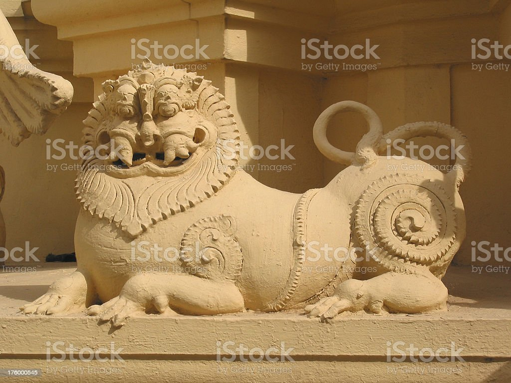 Hindu Temple Lion stock photo
