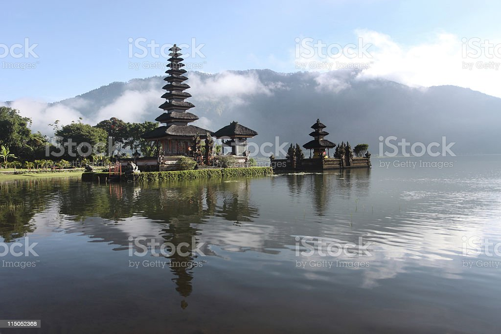 A Hindu temple that is on the waterfront  royalty-free stock photo
