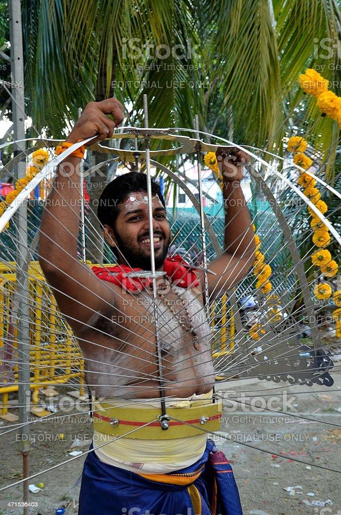 Hindu Thaipusam festival: pierced devotee in Singapore stock photo