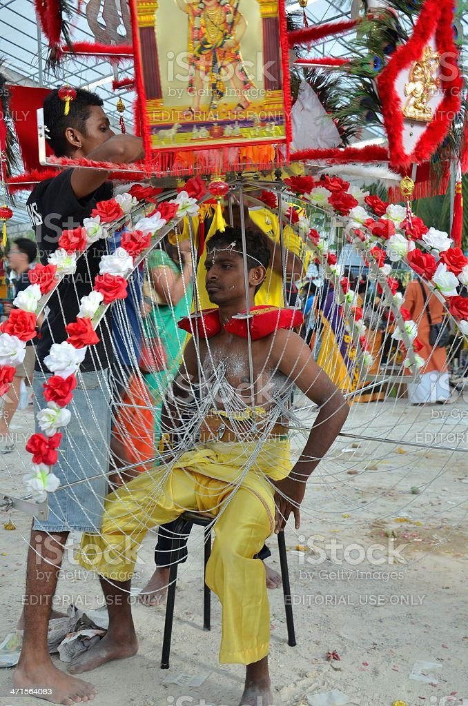 Hindu Thaipusam festival pierced devotee in Singapore stock photo