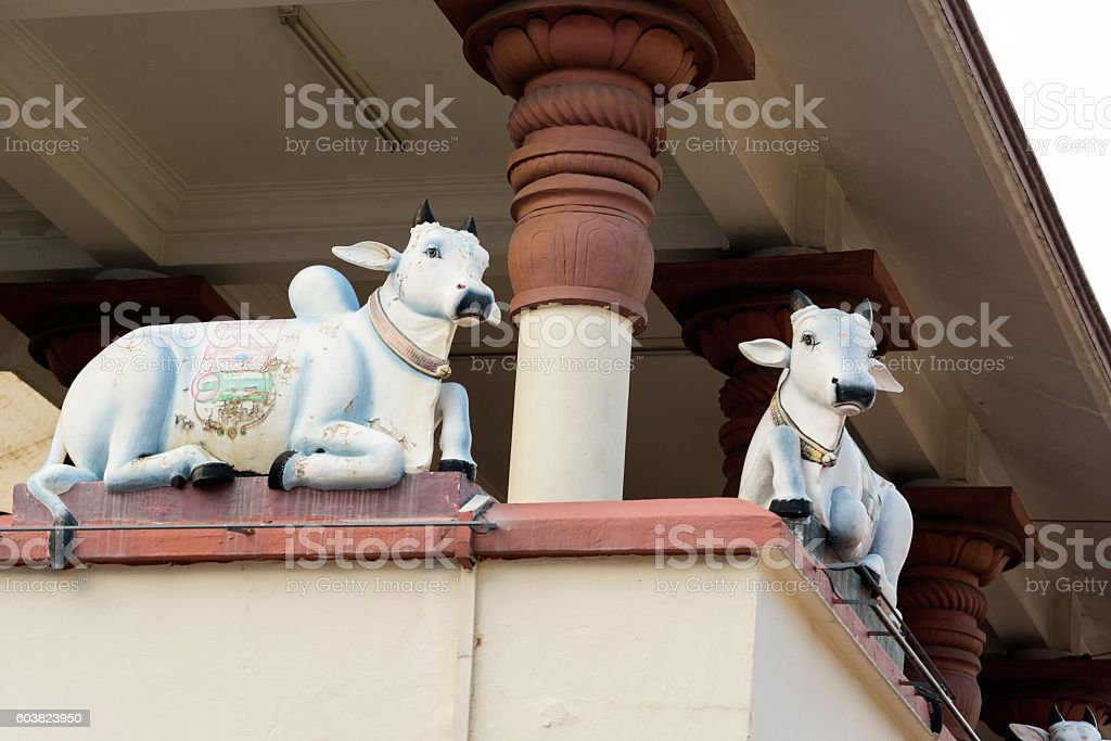Hinduism statue of Sri Mariamman temple in Singapore stock photo