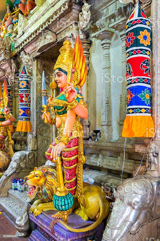 Hinduism statue of Sri Srinivasa Perumal Temple at Little India stock photo