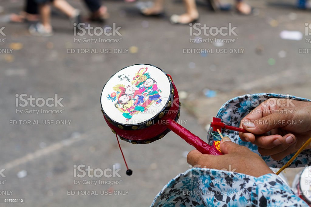 hinese toy drum stock photo