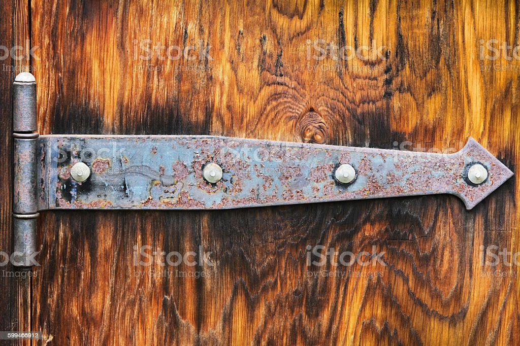 Hinge Hardware Weathered Woodgrain Door stock photo