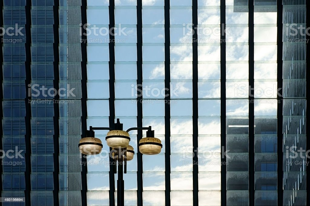 Hinged windows with lantern stock photo