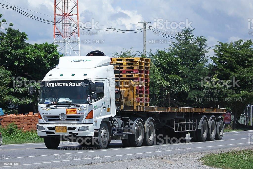 Hino Trailer Cargo truck of Boon Prasong Transport. stock photo