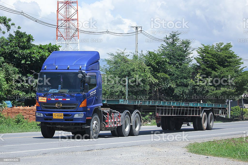 Hino Trailer Cargo truck of First Win Transport stock photo