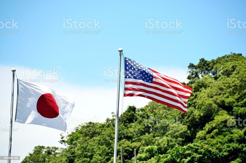 Hinomaru and Stars and Stripes stock photo