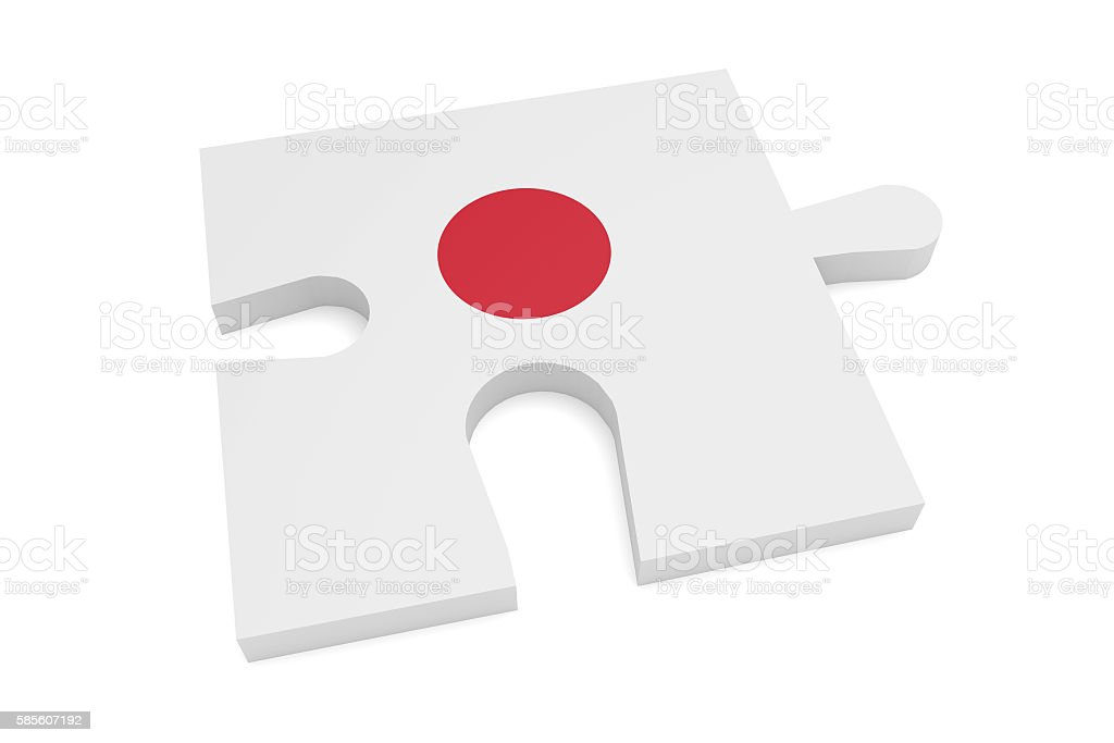 Hinomaru Japan Flag Puzzle Piece, 3d illustration stock photo
