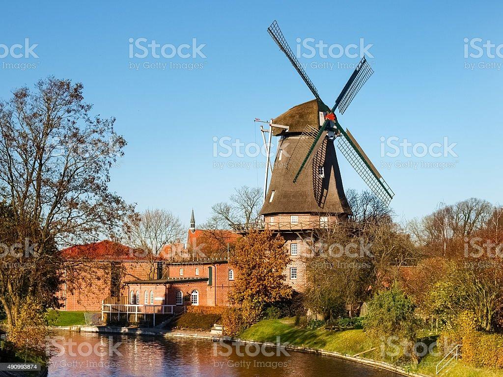 Hinte, traditional Dutch Windmill stock photo
