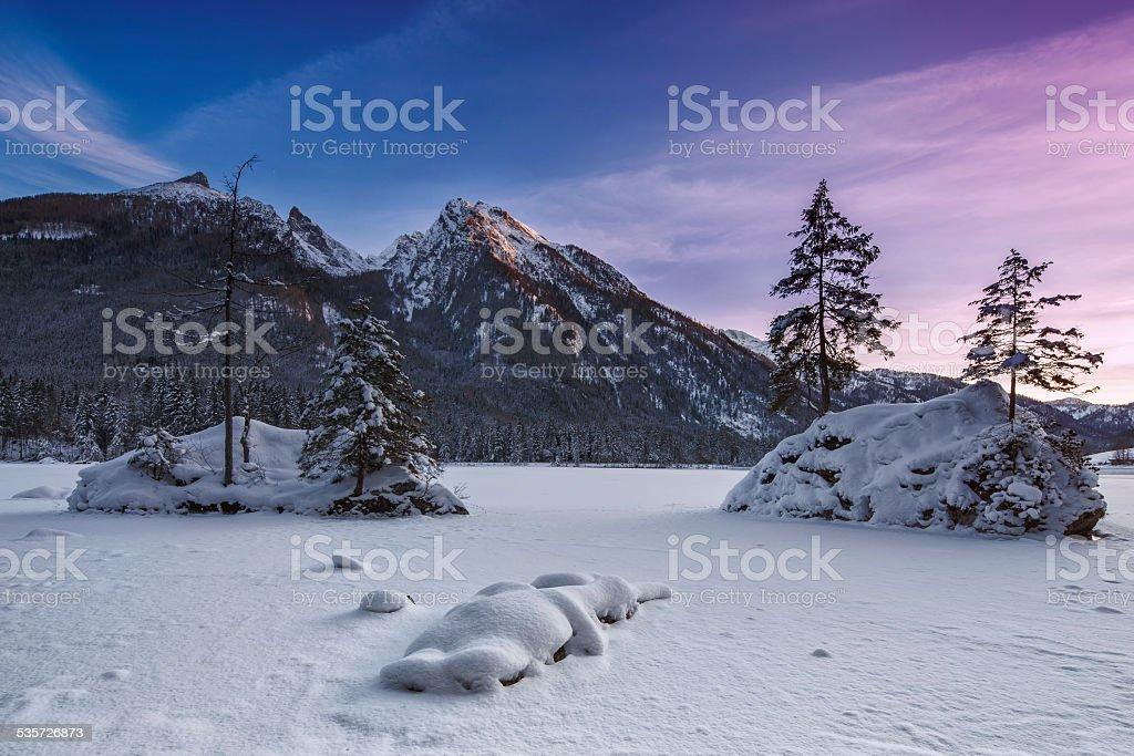 Hintersee Bavarian at winter stock photo